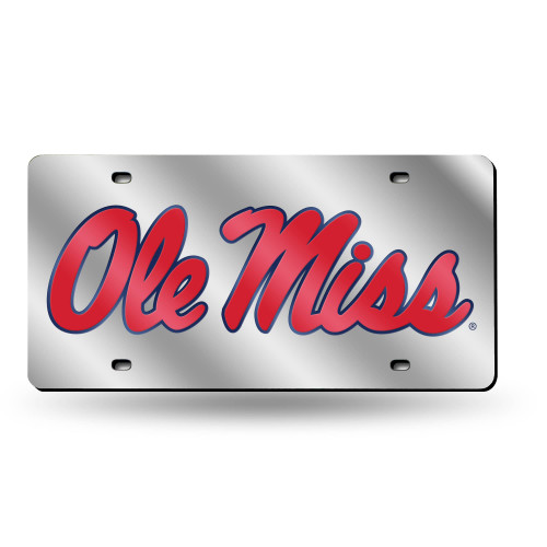 """6"""" x 12"""" Red and Silver Colored College Mississippi Rebels Tag - IMAGE 1"""