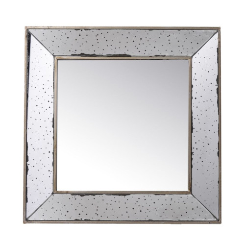 """18"""" Polished Silver Finish Framed Large Square Wall Mirror - IMAGE 1"""