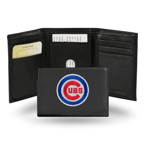 """4"""" Denim Blue and Red MLB Chicago Cubs Embroidered Trifold Wallet - IMAGE 1"""