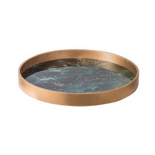 "18"" Gold and Abstract Black Round Tray - IMAGE 1"
