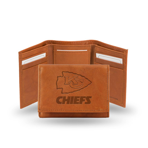 """4"""" Brown NFL Kansas City Chiefs Embossed Trifold Wallet - IMAGE 1"""