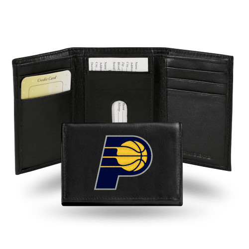 """4"""" Black and Yellow NBA Indiana Pacers Embroidered Trifold Wallet - IMAGE 1"""