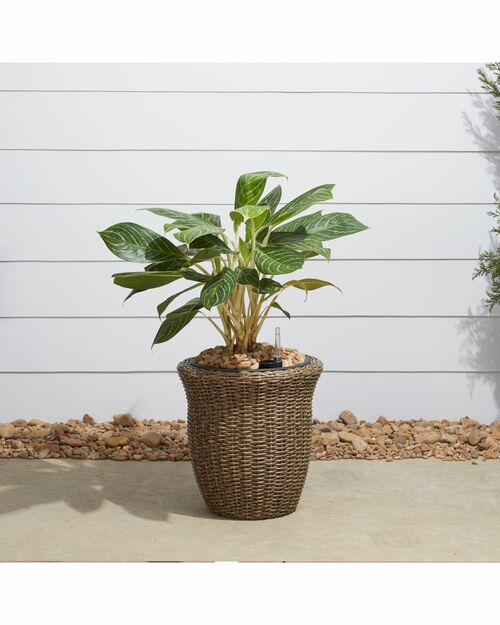 """16"""" Brown Curved Oval Smart Self-Watering Planter - IMAGE 1"""