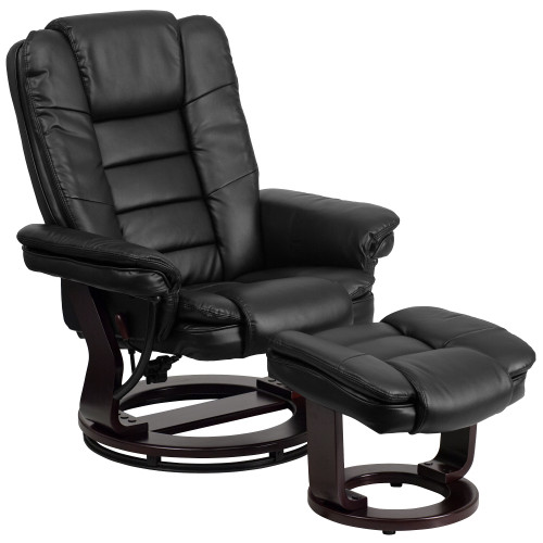 """2-Piece Black Contemporary Multi-Position Swivel Recliner with Ottoman 41"""" - IMAGE 1"""