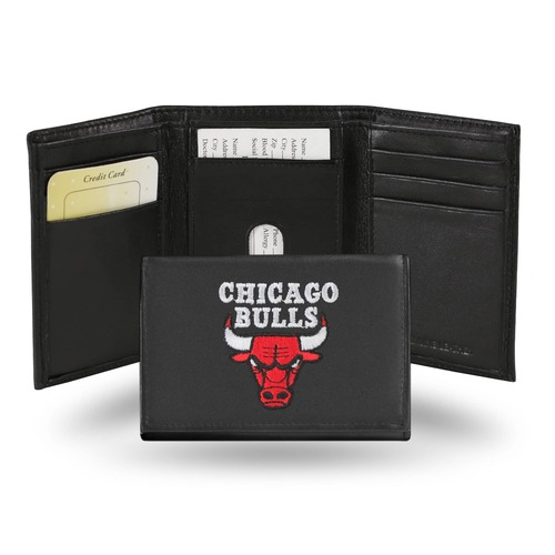"""4"""" Black and Red NBA Chicago Bulls Embroidered Trifold Wallet - IMAGE 1"""