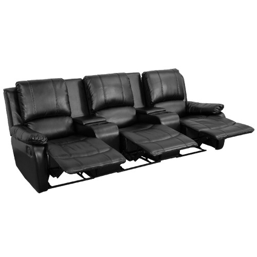 "3-Piece Black Reclining Pillow Back Theater Seating Unit with Cup Holders 96"" - IMAGE 1"