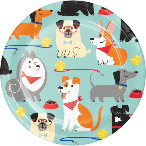 """Club Pack of 96 Red and Blue Dog Party Round Luncheon Plates 6.75"""" - IMAGE 1"""