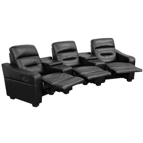 "3-Piece Black Contemporary Reclining Theater Seating Unit with Cup Holders 120"" - IMAGE 1"