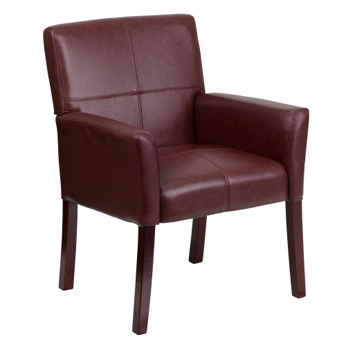 """35.25"""" Burgundy Red Contemporary Executive Side Reception Arm Chair - IMAGE 1"""