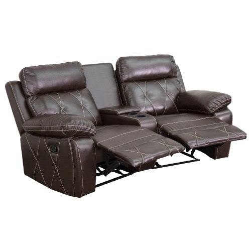 """2-Piece Brown Contemporary Reclining Theater Seating Unit with Curved Cup Holders 79"""" - IMAGE 1"""