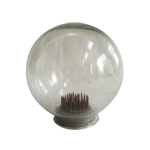 """7.5"""" Clear and Gray Vintage Style Glass Dome Globe - IMAGE 1"""