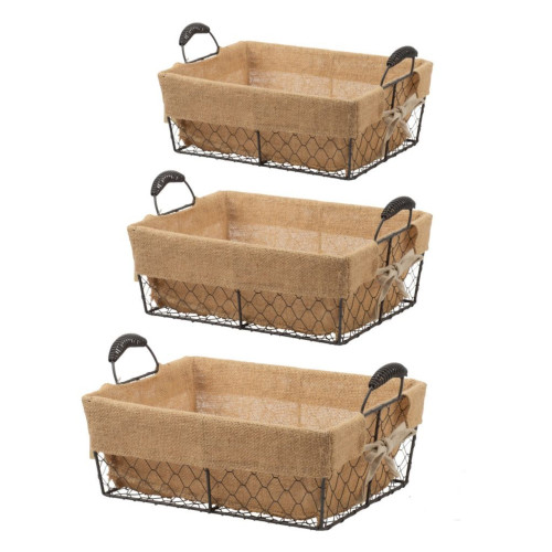 """Set of 3 Burlap and Brown Cottage Style Rectangle Baskets 13"""" - IMAGE 1"""