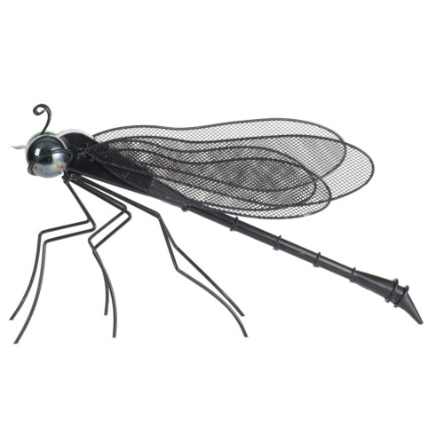 """14.75"""" Night Black and Green Patio Dragonfly Shaped Decorative Figurine - IMAGE 1"""