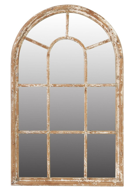 "54.25"" Brown and White Ada Arched Framed Large Wall Mirror - IMAGE 1"