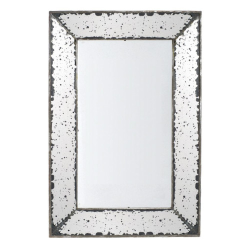"24"" Gray Classic Vintage Style Tray Framed Rectangular Shaped Wall Mirror - IMAGE 1"