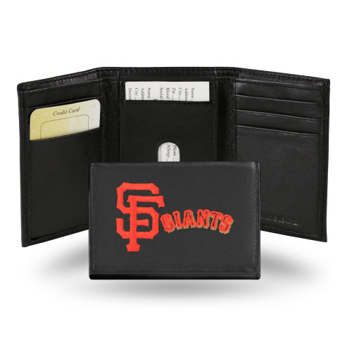 """4"""" Black and Orange MLB San Francisco Giants Embroidered Trifold Wallet - IMAGE 1"""