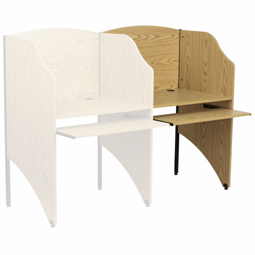 """49.5"""" White and Brown Contemporary Rectangular Pull-Out Study Carrel Desk - IMAGE 1"""