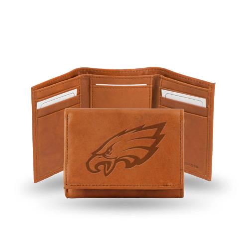 "4"" Brown NFL Philadelphia Eagles Embossed Trifold Wallet - IMAGE 1"