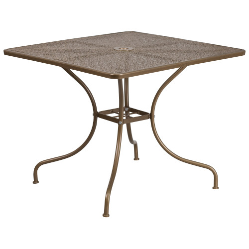 """35.5"""" Gold Contemporary Square Outdoor Furniture Patio Table with Umbrella Hole - IMAGE 1"""