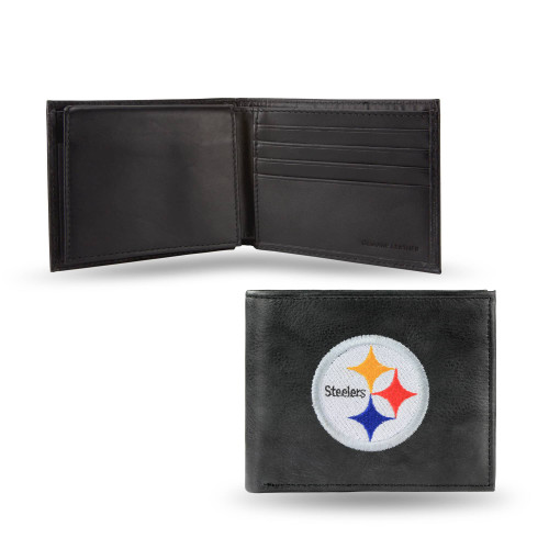 """4"""" Black and White NFL Pittsburgh Steelers Embroidered Billfold Wallet - IMAGE 1"""