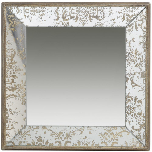 """23.5"""" Brown and Silver Wooden Framed Square Hanging Mirror - IMAGE 1"""