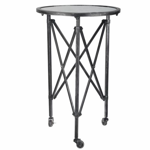 """26.5"""" Black and Silver Glass Top Side Table - IMAGE 1"""