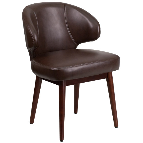 """33.75"""" Brown Contemporary Executive Guest Office Chair - IMAGE 1"""