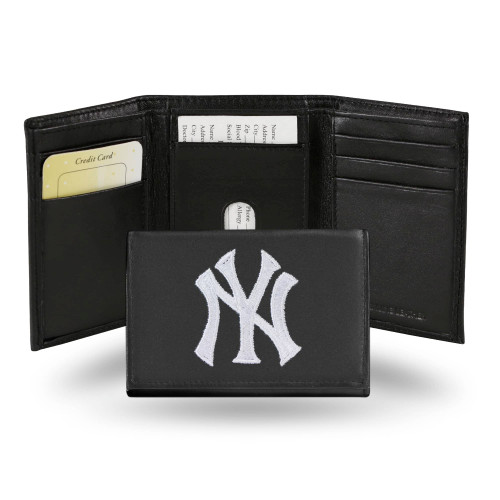 """4"""" White and Black MLB New York Yankees Embroidered Trifold Wallet - IMAGE 1"""