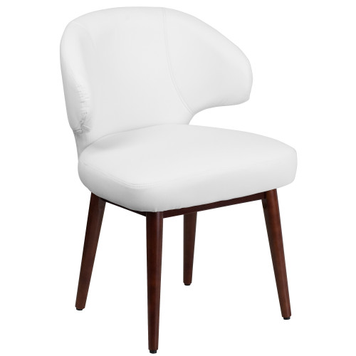 """33.75"""" White Leather Side Reception Chair with Walnut Legs - IMAGE 1"""