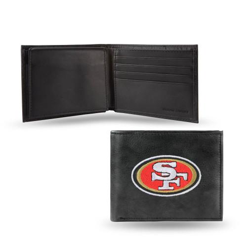 "4"" Black and Red NFL San Francisco 49ers Embroidered Billfold Wallet - IMAGE 1"