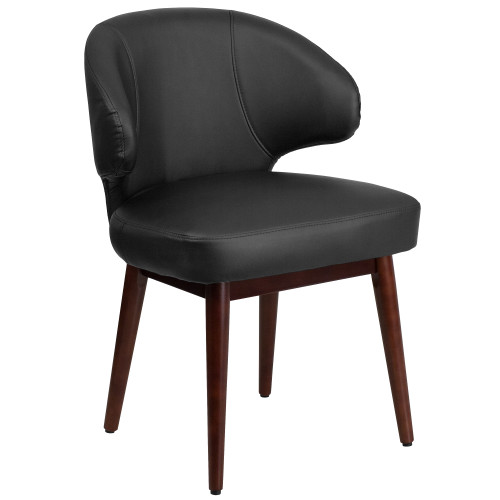 """33.75"""" Black Leather Side Reception Chair with Walnut Legs - IMAGE 1"""