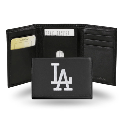 """4"""" Black and White MLB Los Angeles Dodgers Embroidered Trifold Wallet - IMAGE 1"""
