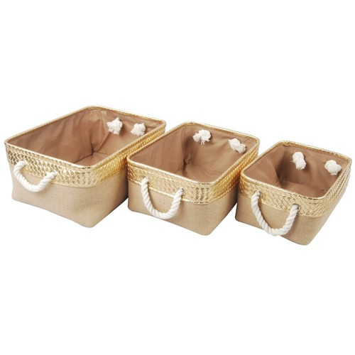 """Set of 3 Brown and Gold Alcott Nested Baskets 16"""" - IMAGE 1"""