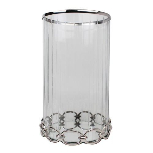"""17.75"""" Silver and Clear Nickel and Glass Candle Holder - IMAGE 1"""