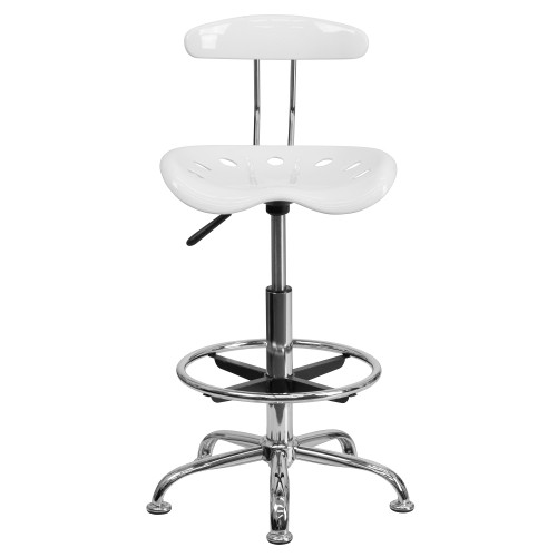 "41"" White Tractor Swivel Seat Drafting Stool with Chrome Foot Ring - IMAGE 1"