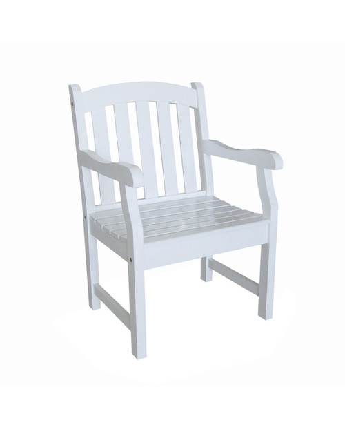 """35"""" White Painted Finish Curved Back Outdoor Furniture Patio Armchair - IMAGE 1"""