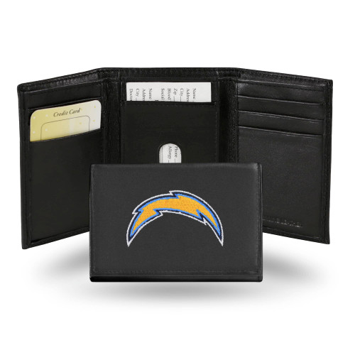 """4"""" Yellow and Blue NFL Los Angeles Chargers Embroidered Trifold Wallet - IMAGE 1"""