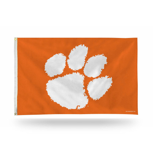 3' x 5' White and Orange College Clemson Tigers Banner Flag - IMAGE 1