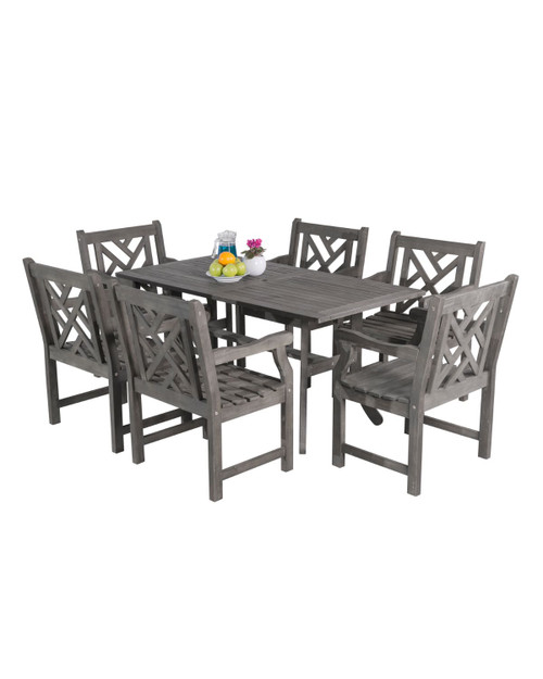 """7-Piece Gray Hand Scraped Wood Finish Curvy Leg Table Outdoor Furniture Patio Dining Set with Mosaic Chairs 59"""" - IMAGE 1"""