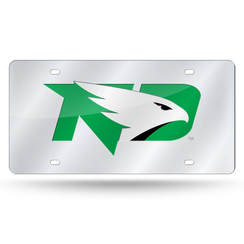 "6"" x 12"" Green and Silver Colored College North Dakota Fighting Hawks Tag - IMAGE 1"