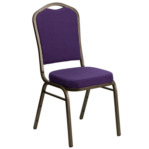 """38"""" Purple and Brown Crown Back Stacking Banquet Chair - IMAGE 1"""