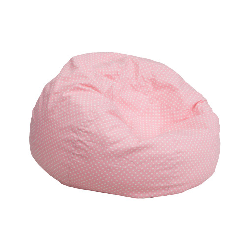 "30"" Light Pink and White Polka Dot Contemporary Bean Bag Chair - IMAGE 1"