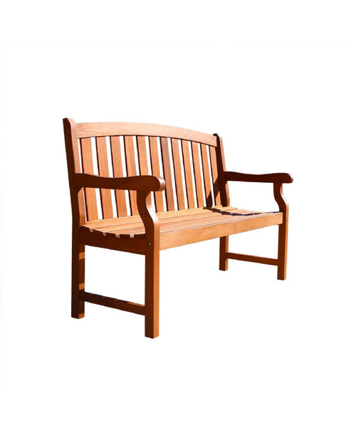 """48"""" Brown Natural Wood Finish Curved Back Outdoor Furniture Patio Bench - IMAGE 1"""
