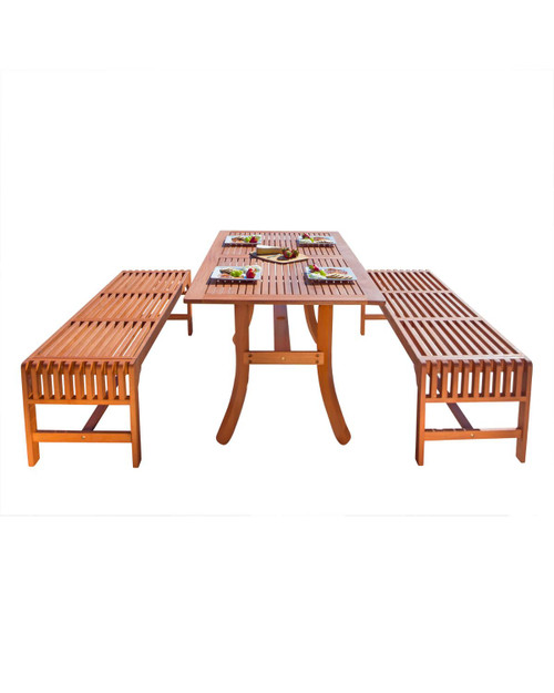 """3-Piece Brown Natural Wood Finish Curvy Leg Table Outdoor Furniture Patio Dining Set 59"""" - IMAGE 1"""