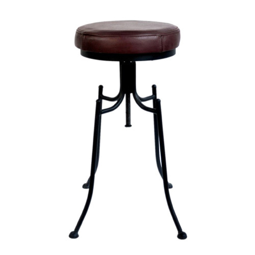"""26"""" Black and Burgundy Red Contemporary Bar Stool with Leather Seat - IMAGE 1"""