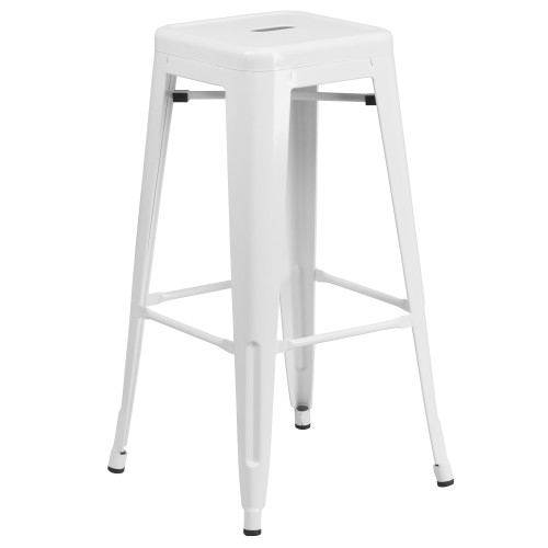 """30"""" White Contemporary Backless Industrial Outdoor Patio Barstool with Square Seat - IMAGE 1"""