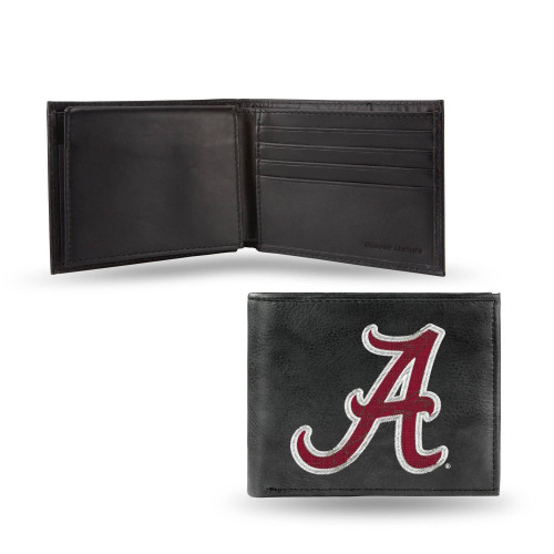 "4"" Black and Red College Alabama Crimson Tide Embroidered Billfold Wallet - IMAGE 1"