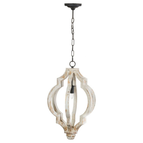 """24.25"""" White Vintage Style Distressed Bellamy Chandelier - IMAGE 1"""