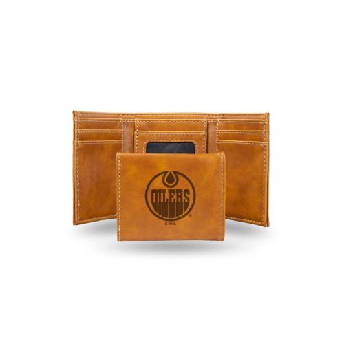 "4"" Brown NHL Edmonton Oilers Rectangular Trifold Wallet - IMAGE 1"