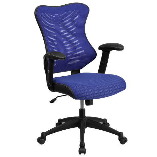 """42.75"""" Blue and Black High Back Mesh Executive Swivel Ergonomic Office Chair with Adjustable Arms - IMAGE 1"""